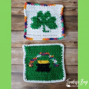crochet shamrock dishcloth free pattern