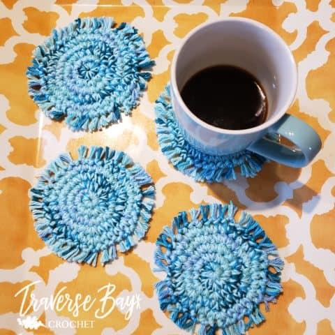 crochet boho coaster
