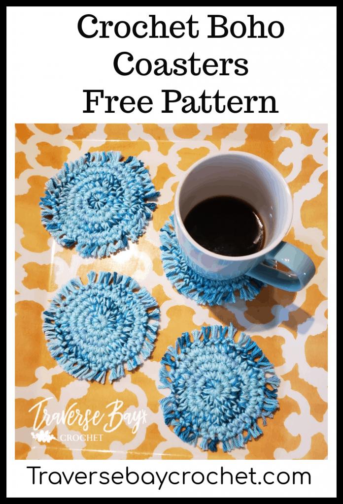 crochet boho coasters