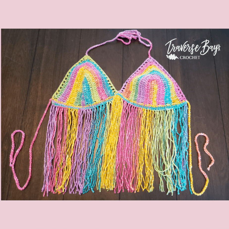 crochet rainbow top