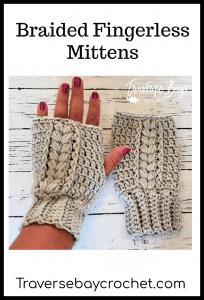 crochet braided fingerless mittens