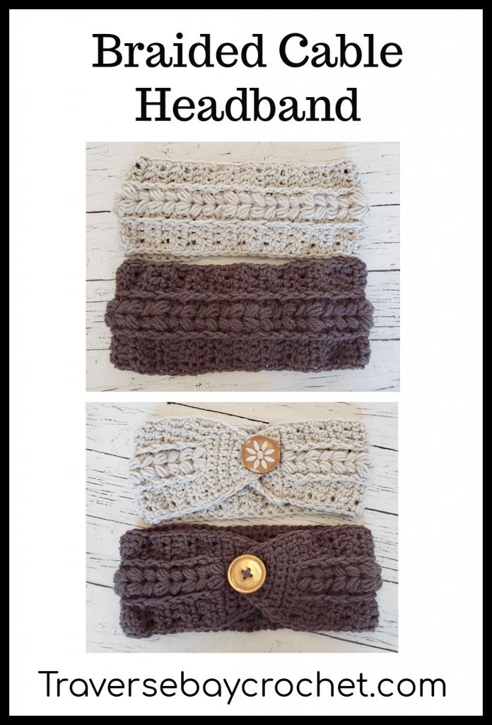 crochet braided cable headband